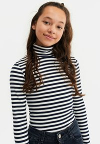 WE Fashion - MEISJES ROLNEK T-SHIRT MET GESTREEPTDESSIN - Longsleeve - dark blue - 0