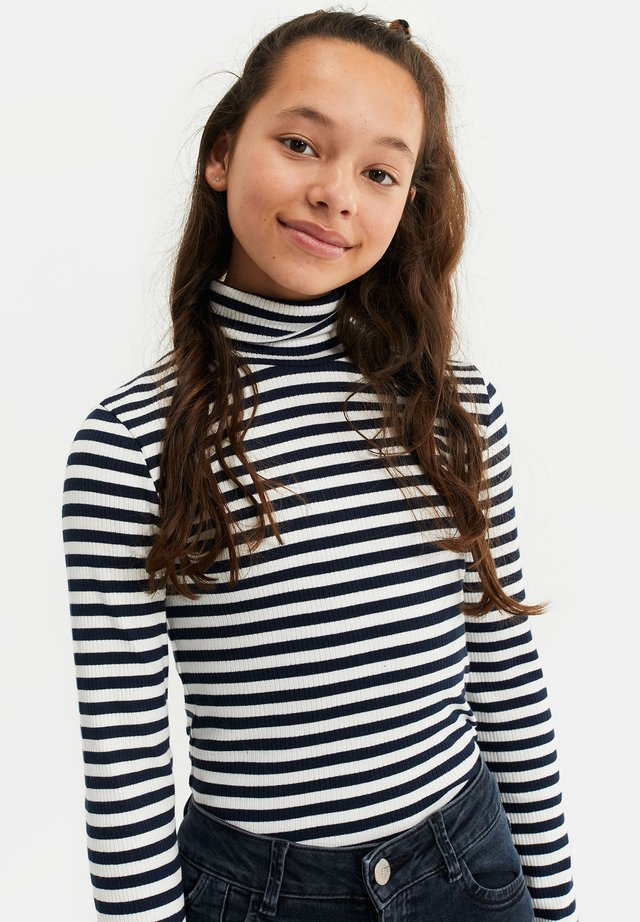MEISJES ROLNEK T-SHIRT MET GESTREEPTDESSIN - Long sleeved top - dark blue
