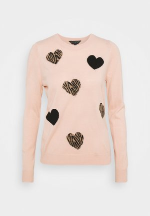 ALL OVER ANIMAL HEART JUMPER - Maglione - blush