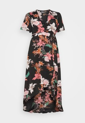 FLORAL HIGH LOW WRAP DRESS - Day dress - black