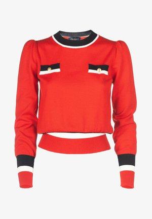 MILO - Pullover - rosso/panna/nero