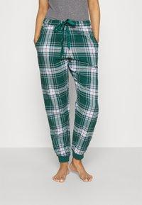 Hunkemöller - PANT CHECK CUFF - Pyjama bottoms - atlantic deep - 0