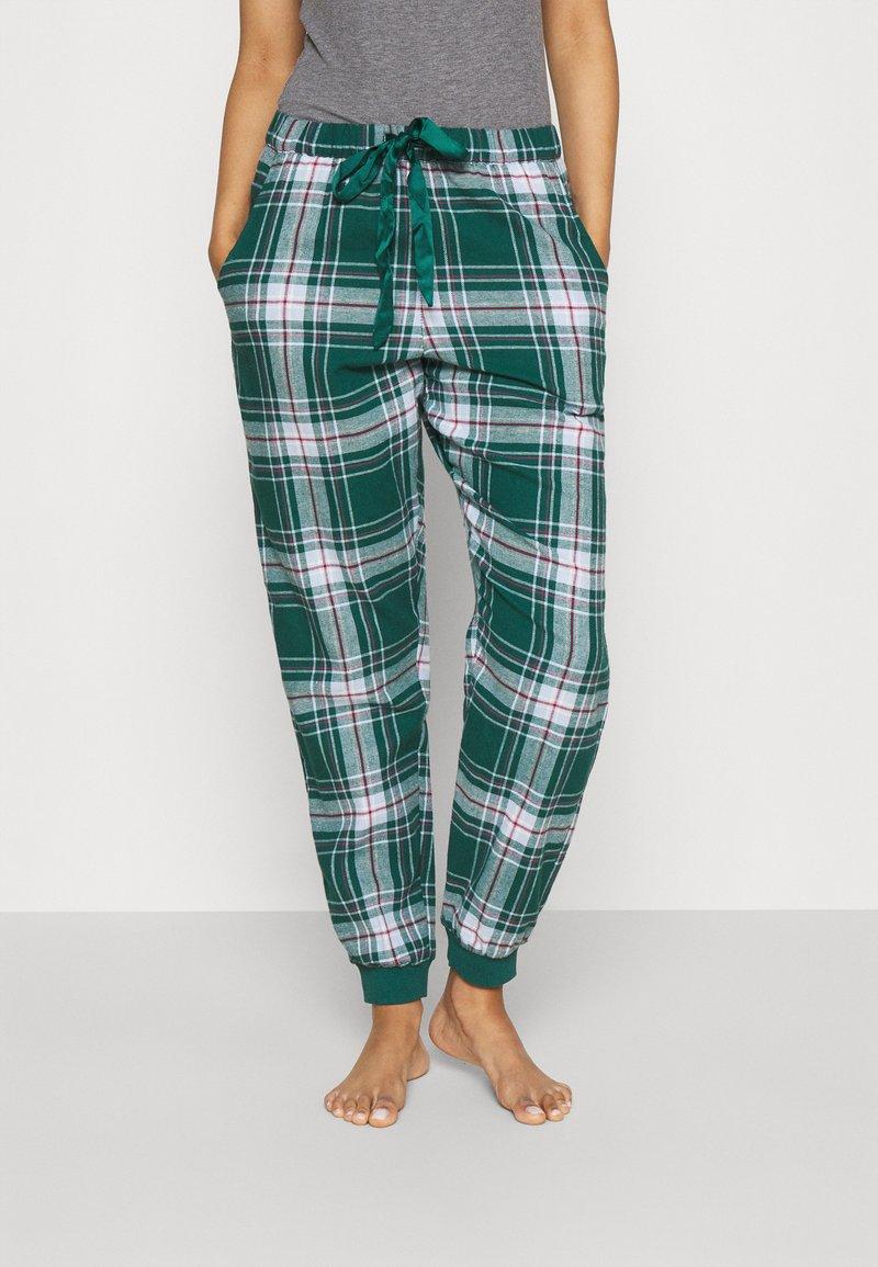 Hunkemöller - PANT CHECK CUFF - Pyjama bottoms - atlantic deep