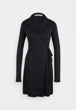 COLLARED WRAP MINI DRESS - Denní šaty - navy
