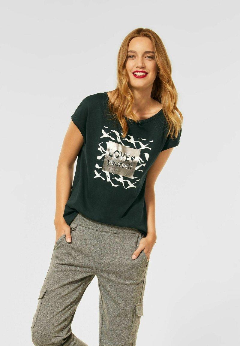 Street One - MIT WORDING - Print T-shirt - grün