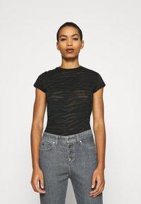 Calvin Klein Jeans - BURN OUT ZEBRA LOGO - Print T-shirt - black - 0