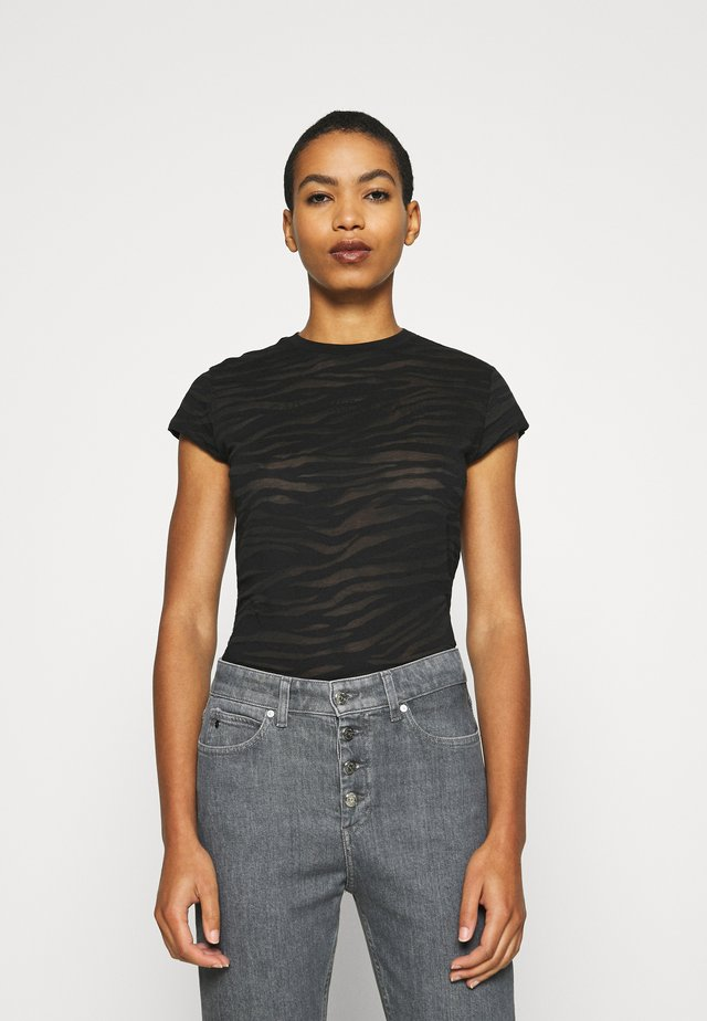 BURN OUT ZEBRA LOGO - Print T-shirt - black