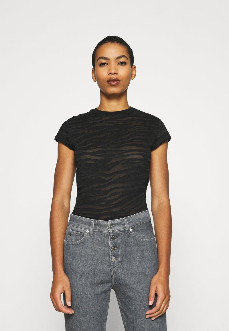 Calvin Klein Jeans - BURN OUT ZEBRA LOGO - Print T-shirt - black