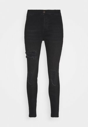 DISTRESSED  WITH ZIP DETAIL - Jeansy Skinny Fit - washed black