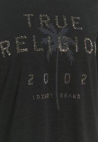True Religion - BOXY CREW NECK  PALM TREE BLACK - Top sdlouhým rukávem - black - 6
