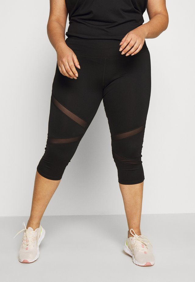 EXCLUSIVE CROPPED PANEL LEGGINGS - 3/4 sports trousers - black