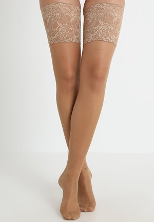 FALKE SEIDENGLATT 15 DENIER STAY UPS TRANSPARENT GLÄNZEND - Over-the-knee socks - powder