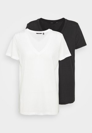 VMSPICY V-NECK0 2 PACK - Basic T-shirt - snow white/black