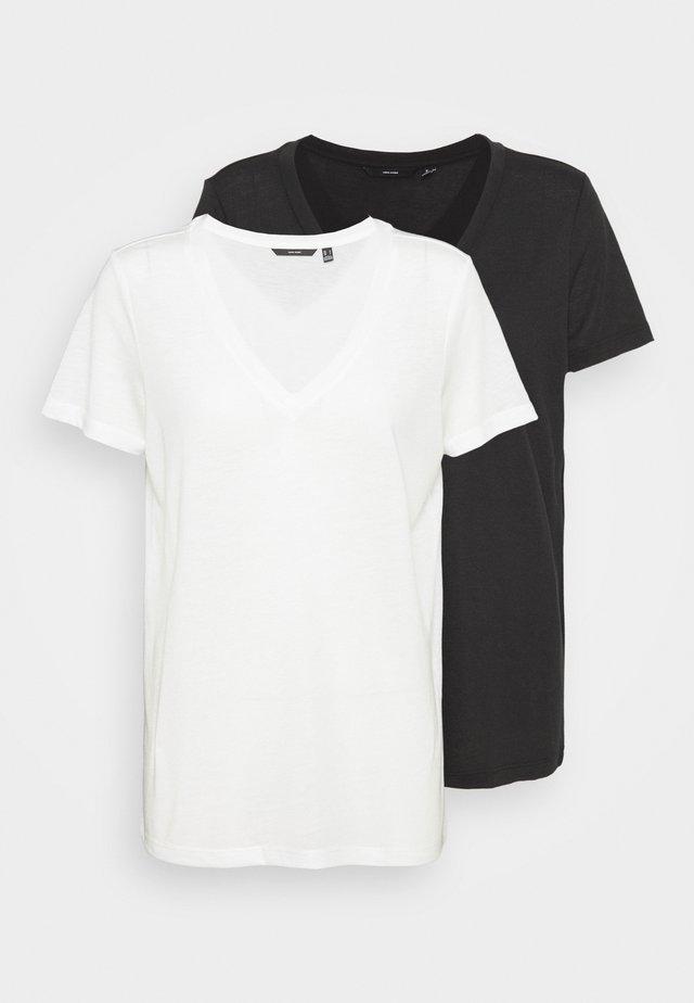 VMSPICY V-NECK0 2 PACK - Basic T-shirt - snow white/black