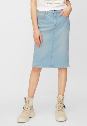 MARC O'POLO JEANSROCK AUS BAUMWOLL-MIX - Pencil skirt - light blue shade denim