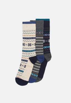 3 PACK - Chaussettes - dark blue/mottled grey/offwhite