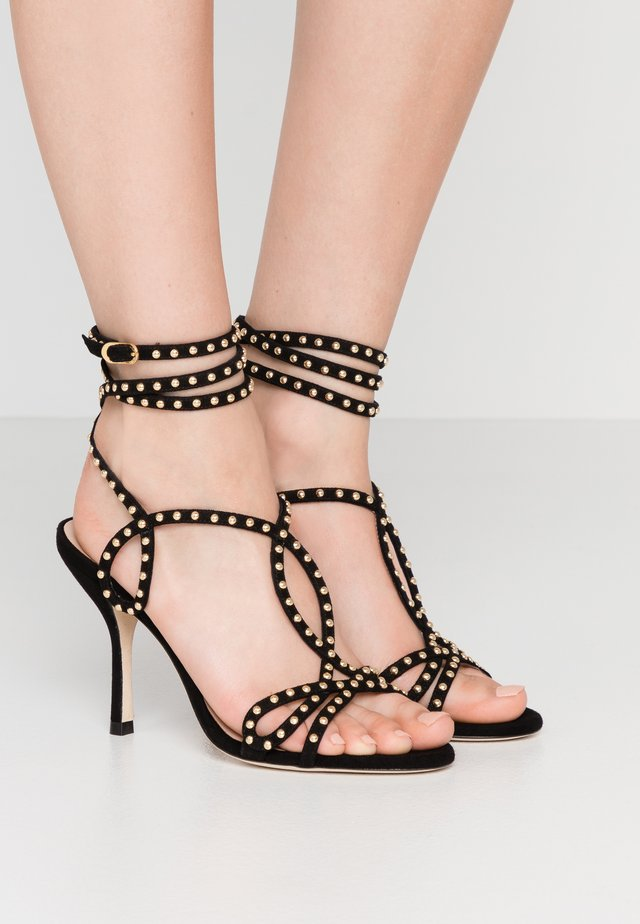 LEYA BEAD - High heeled sandals - black/gold