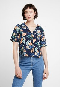 Abercrombie & Fitch - RESORT POCKET TEE - Button-down blouse - navy - 0