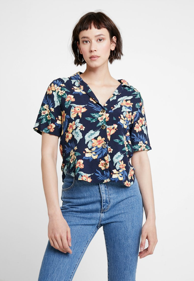 Abercrombie & Fitch - RESORT POCKET TEE - Button-down blouse - navy