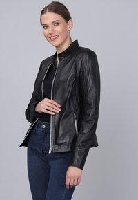 Basics and More - Leather jacket - black - 2