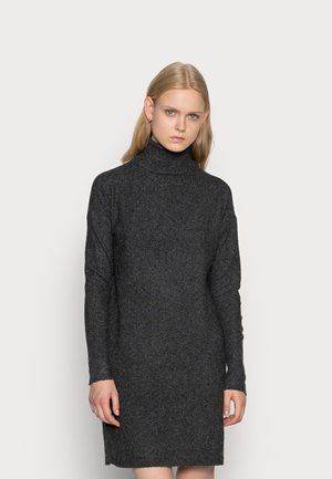 VMBRILLIANT ROLLNECK DRESS  - Pletené šaty - black melange