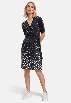 MIT WICKEL-EFFEKT - Jersey dress - navy gemustert