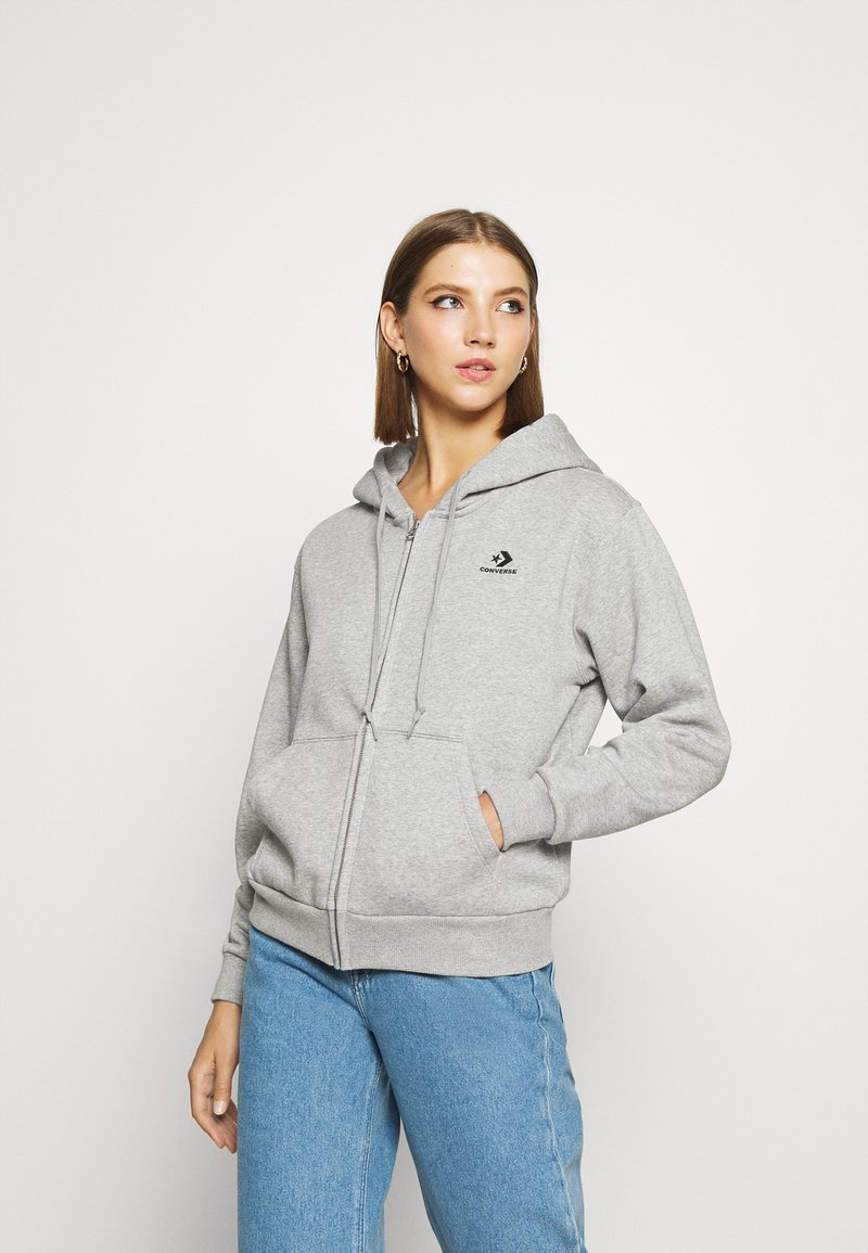 Converse - WOMENS FOUNDATION FULL ZIP HOODIE - Zip-up hoodie - grey