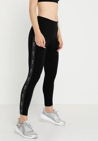 DKNY - HIGH WAIST LOGO TAPING - Leggings - black - 0