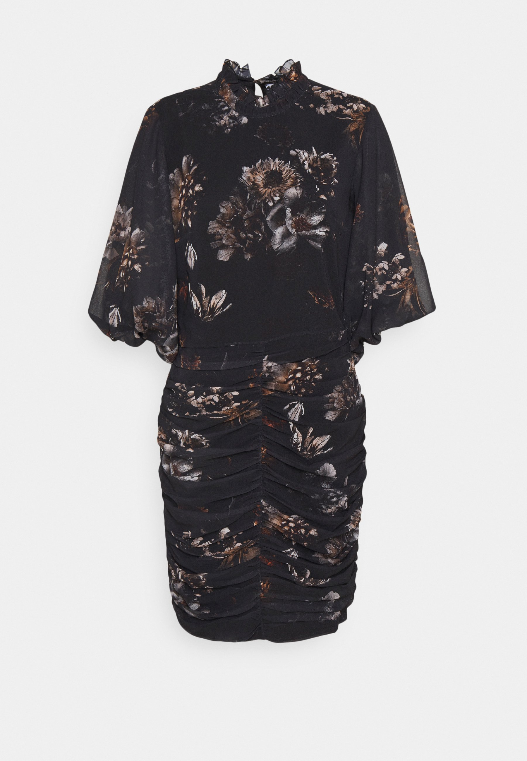 Women PRINTED RUSHED VICTORIAN COLLAR MINI DRESS - Day dress