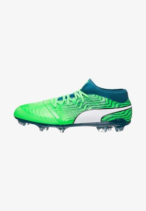 PUMA ONE 18.2 AG - Moulded stud football boots - green gecko/white/deep lagoon