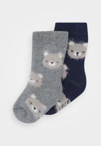 Ewers - BABY SOCKS TERRY BEAR 2 PACK - Socks - tinte/grau melange - 0