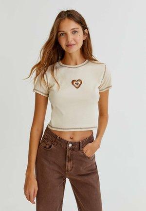 T-shirts print - mottled beige
