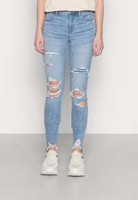 American Eagle - HI RISE - Jeggings - shadow patched blues - 0