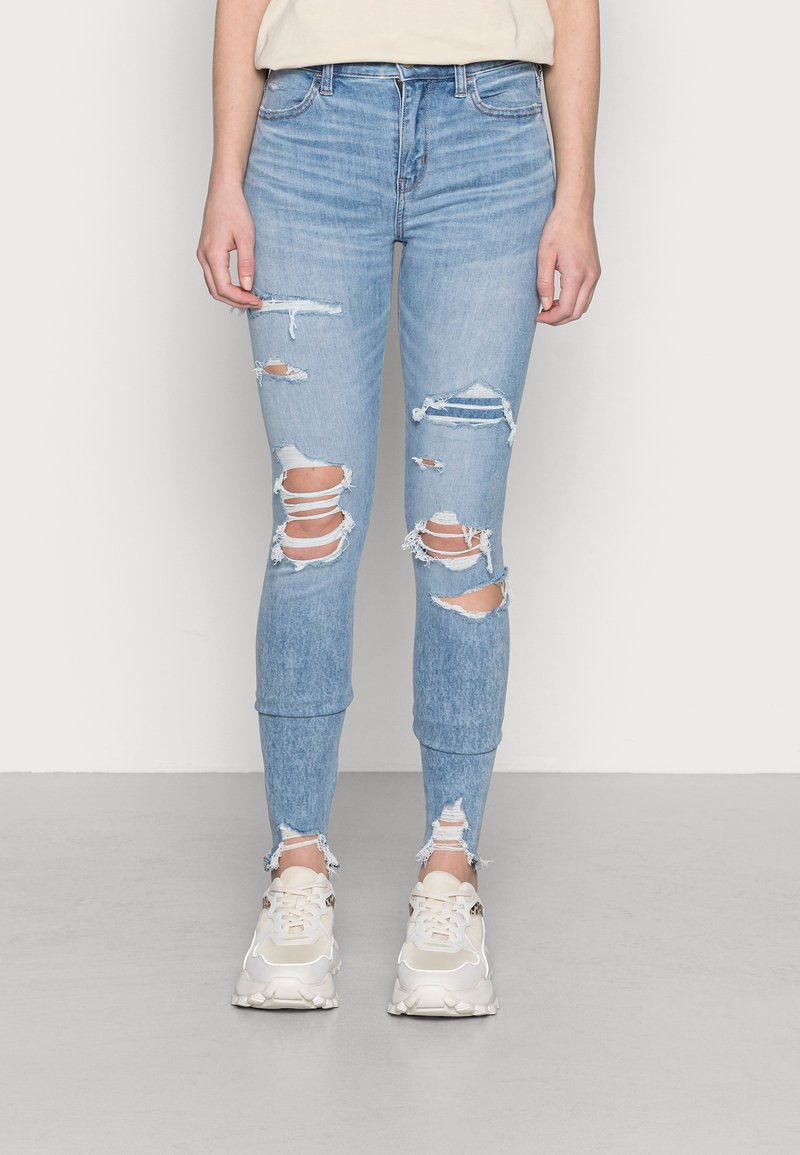 American Eagle - HI RISE - Jeggings - shadow patched blues