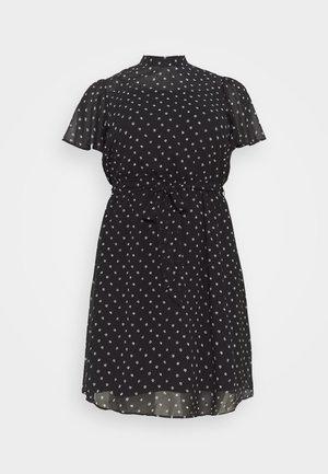 FLORAL SHORT SLEEVE DRESS - Denní šaty - black