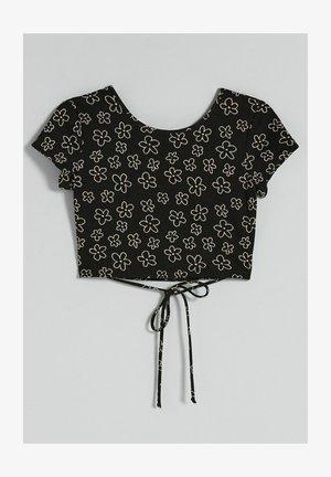 MIT BLUMEN - Print T-shirt - black