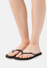 Tommy Jeans - THONG BEACH - T-bar sandals - black - 0