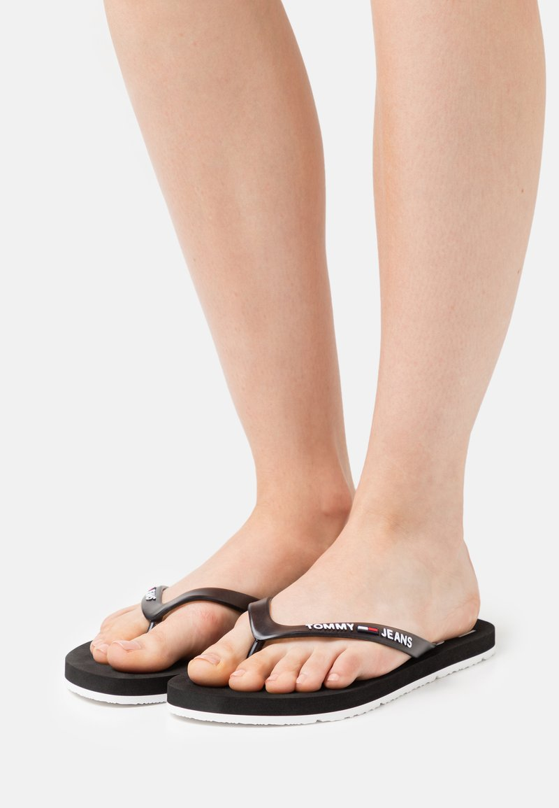 Tommy Jeans - THONG BEACH - T-bar sandals - black