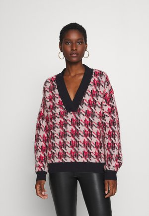 HOUNDSTOOTH INTARSIA - Pullover - evening blue