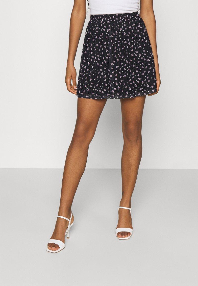 Even&Odd - A-line skirt - black/lilac