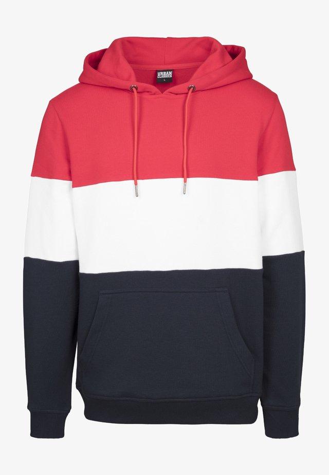 3-TONE HOODY - Hoodie - fire red/white/navy