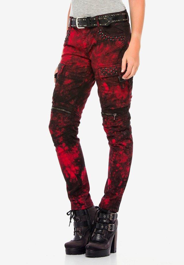 BIKER LOOK - Straight leg jeans - rood