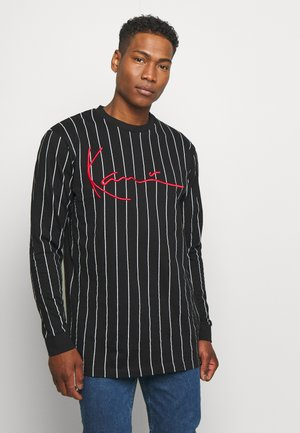 SIGNATURE PINSTRIPE  - Long sleeved top - black