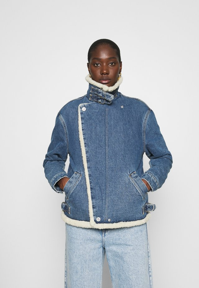 MOTO JACKET - Denim jacket - mid blue