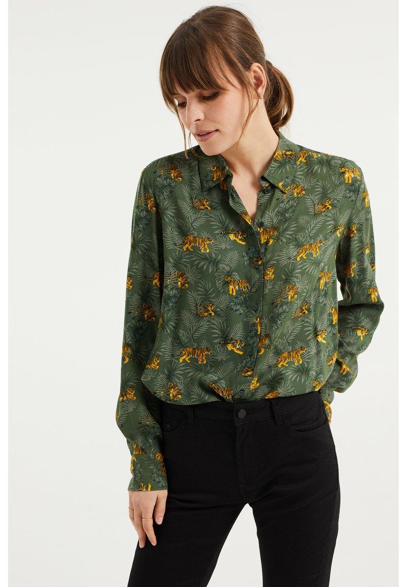 WE Fashion - MET DESSIN - Button-down blouse - dark green