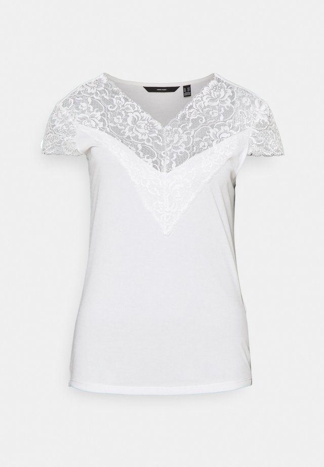VMPHINE CAP SLEEVE - Print T-shirt - snow white