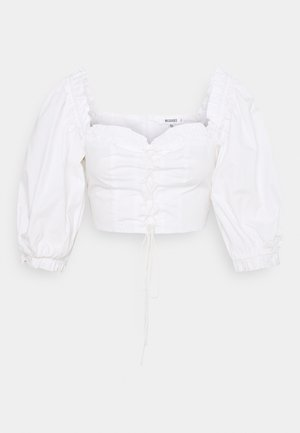 PUFF SLEEVE UP MILKMAID - Triko s potiskem - white