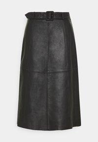 Selected Femme Tall - SLFOLLY  MIDI SKIRT - Leather skirt - black - 3