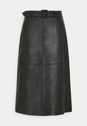 SLFOLLY  MIDI SKIRT - Kožená sukně - black