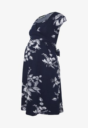 FLORAL MATERNITY NURSING TIE DRESS - Jerseykjole - navy